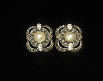 Judith Jack Sterling Marcasite Earrings Clip-On Art Deco Design