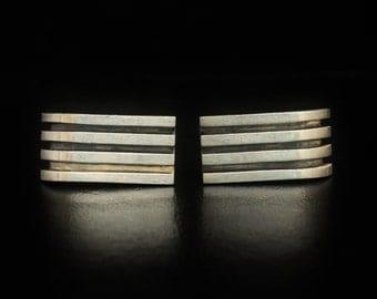 "Antonio Pineda 970 Fine Silver Cufflinks 1.10"" Long Crown Hallmark"