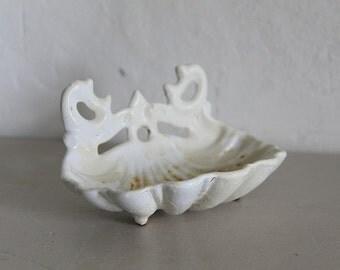 French Enamel Soap Dish Scallop Edge, White Enamel