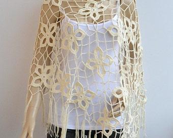 Ecru crochet poncho, summer shrug, boho poncho, crochet wrap, bohemian poncho, Women poncho, bridal poncho, bridal accessories, bridal cape