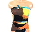 Large Bathing Suit Retro Color Block Black Orange Yellow Turquoise Wrap Around Swimsuit Tie On Swimwear for Women, Teens and Maternity