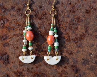 BOHO BEADED EARRINGS, festival jewellery, hippie earrings, beaded dangles, orange, white, green, upcycled earrings, handmade jewellery