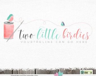 Premade Logo Sewing logo premade logo designs needle and thread logo bunting logo bird logo watercolor logo logos and watermarks logo design