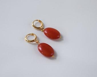 Coral Hoop Dangles earrings, Regency Coral Earrings, Reproduction 19th century jewelry, Jane Austen Costume, Historical Jewelry, Large Coral