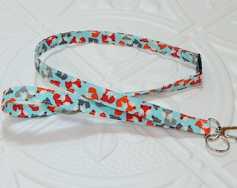 Breakaway Lanyard - Badge Holder - Keychain Lanyard - Teacher Lanyard - Cute Fox Print