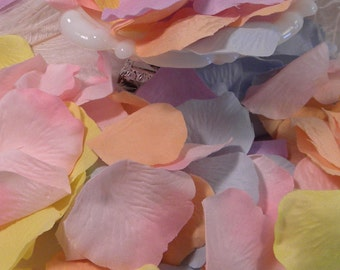 200 Pastel Unicorn Rainbow Party Decoration | Pastel Wedding Rose Petals Lilac, Yellow, Peach, Pink, Light Blue, Bridal Baby Shower