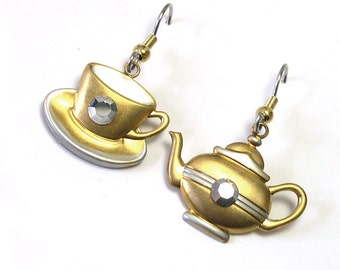 Dangle Tea Earrings, Teacup Upcycled Earrings, Charm Earrings, Tea cup, tea time, teapot, dangly, handmade
