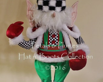 "PREORDER-2017 Christmas Delivery-Christmas Elf Character Stand -Petals & Plumes Original Design©-(SOLD OUT for 2016 Delivery)38"" Tall"