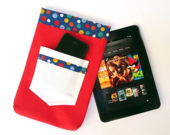 Red White Blue Polka Dot Denim tablet sleeve, fits iPad Mini, 7 inch Kindle, Nook Color, LG Pad 8, More