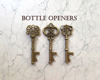 "Skeleton Key BOTTLE OPENERS – 100 pcs - 3 Styles – 3"" Long –Vintage Style - Make Your Own Wedding Favors! Ships from USA."