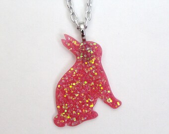 Pink Glitter Bunny Necklace / Rabbit Necklace / Pink / Glitter / Animals / Cute / Girly / Bunny Necklace / Easter