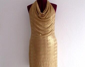 Sale Gold Lame Mini Halter Dresses
