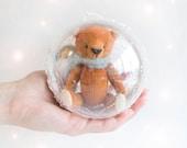 Orange Bear inside Ornament - 3 inches