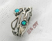Silver Opal ring. Sterling silver ring. Organic design Opal ring. Branch silver ring (sr-9906) opal jewelry, gift for her, birthday gift