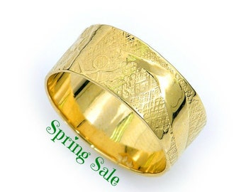 14k Yellow gold bamboo forest wedding band. Wide wedding band. Nature inspired wedding band. Pattern wedding band (gr-9067)