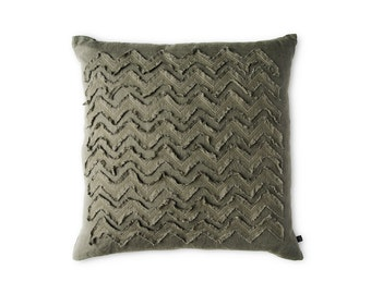 Embroidered decorative pillow cover Washed textured soft linen cushion Moss green color