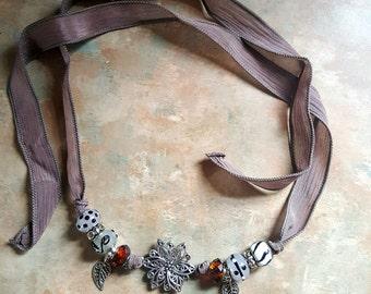 Beautiful Silk Ribbon Necklace/Bracelet/Charms/Flowers