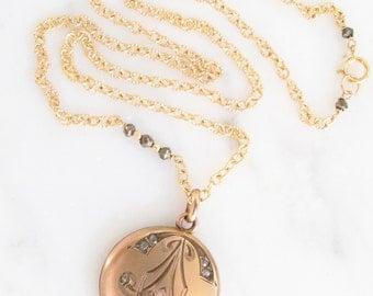 Antique locket, gold fill locket, Art Nouveau locket necklace, gold locket necklace, Two Girls Gems