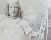fancy dress fairy - Victorian cabinet card photograph - pantomime dress up costume