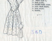 1940s Pretty Flared Dress Pattern Woman's World Mail Order Vintage Sewing Pattern Bust 36 FF Unused