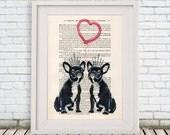 Bulldog in love print, French Bulldog illustration, Valentines gift, Christmas idea, Boston Terrier love, for him, for her, wedding print