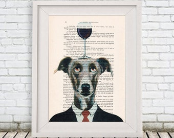 Greyhound Poster: Art Poster Digital Art Original Illustration Giclee, Greyhound Print, Wall Decor Animal Painting,Greyhound with wineglass