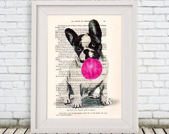 Original Illustration Digital Print Mixed Media Art Poster Acrylic Painting Holiday Decor Drawing Gift: French bulldog with bubblegum