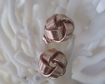 Rose Gold Love Knot Stud Earrings