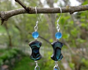 Abalone and Sea Glass Earrings