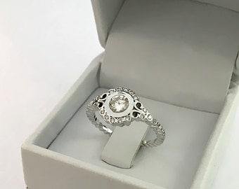 Art Deco Round Cut Halo Engagement Ring 14k White Gold or Yellow Gold Diamond Ring
