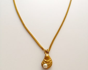 Tiny Oyster & Pearl Brass Necklace