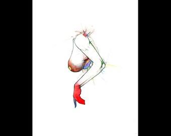 Round and point, Original colorful watercolor drawing sketch, Human anatomy figure surrealist vivid art, Big breast art, NYC artist