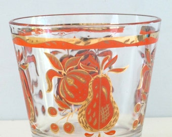 Vintage Mid Century Barware Gold and Orange Glass Ice Bucket
