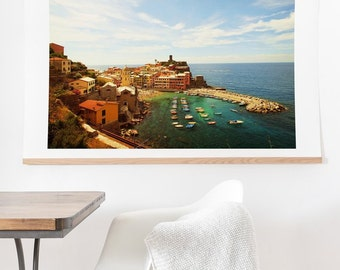 Summer in Vernazza ready-to-hang oversized wall art print, housewarming gift apartment living room decoration, wanderlust travel decor theme