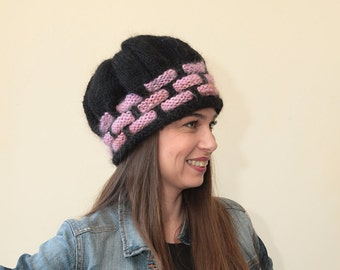 Black HAND KNIT HAT with pink Tiles by Solandia, Warm Winter Hat, accessories, women hat, children hat , adult sizing, knitted fashion