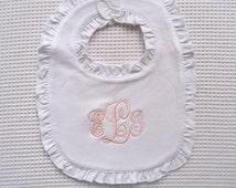 Baptism Bib  Monogrammed Blush Pink and White  Ruffled Bib and Headband New Baby Gift Baptism Christening Gift Baby Dedication