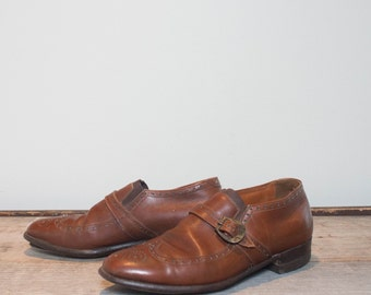 8.5 B/D | Men's Edwin Clapp's Adventurer II Wingtip Brogue Monkstrap Loafer Shoes in Medium Brown