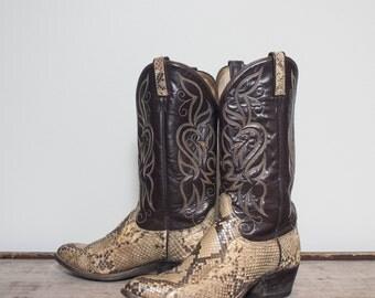 9 D   Men's Dan Post Snakeskin Western Boots