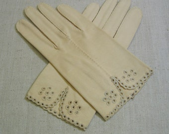 Crescendoe Beige Cotton Gloves, 6.5 Size, Vintage