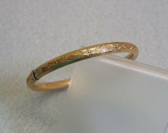 Tiny Gold Filled Baby Bangle Bracelet, Vintage, Victorian