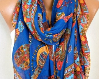 Navy Blue Owl,Bird,Cat Cotton Animal Soft Scarf,fall,Pareo, Oversize Scarf, Cowl Scarf, Shawl, Gift Ideas For Her, Women Fashion Accessories