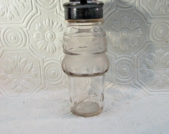 "Castor set condiment bottle jar only etched crystal 6"" tall Replacement with notch for spoon"