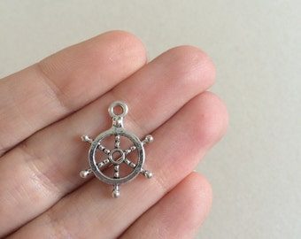 8 Antique Silver Ship Wheel Charms Silver Ships Helm Pendants 20mm x 18mm x 2mm