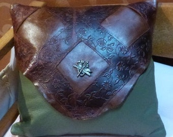 12x12 Appliqued Leather Pillow with dragonfly concho