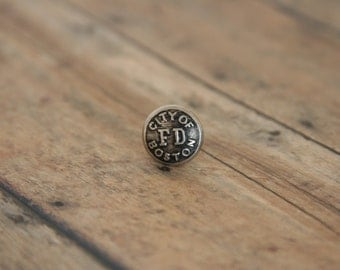 Boston Fire Dept Tie Tack City FD Lapel Pin - made with a vintage uniform button