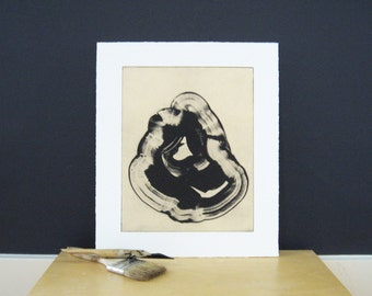 "Etching Print . Minimalist Home . Black and White: ""Ink"" . Print 11"" x 13"" . Unframed"