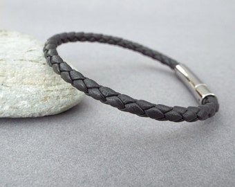 Mens Leather Bracelet, Boyfriend Gift, Braided Bracelet, Men's Leather Jewelry, Jewelry for Him