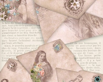 Shabby Envelopes with Vintage Women paper crafting diy gift digital download instant download digital collage sheet - VDENVI1361