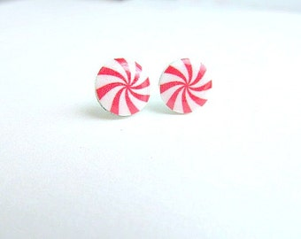Peppermint Candy Stud Earrings