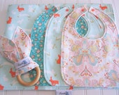 Deluxe Newborn Gift Set/Baby Blanket, Three Infant Bibs, Natural Wood Teether/Anna Elise/Organic Fleece Backing